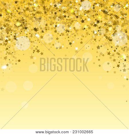 Modern Gold Holiday Background. Golden Stars Confetti.