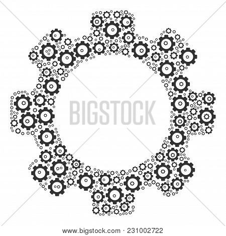 Gear Pattern Combined In The Combination Of Gear Design Elements. Vector Iconized Composition Design