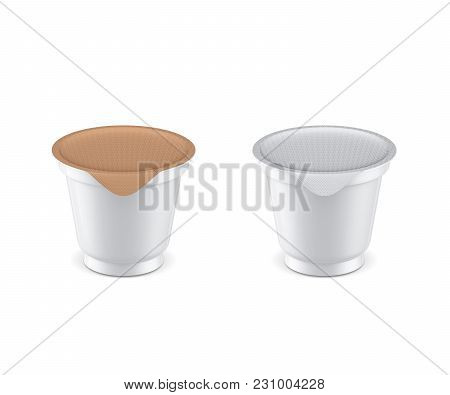 Plastic Yogurt Cup Mockup With Foil Cover, 3d Rendering