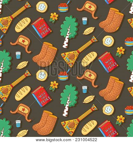Russian Symbols Doodle Cartoon Colorful Icons Seamless Vector Pattern