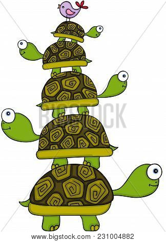 Scalable Vectorial Representing A Stacking Turtles And Bird, Element For Design, Illustration Isolat