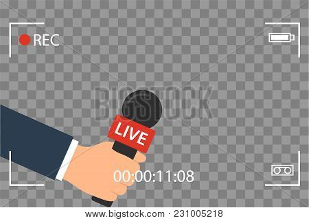 Background With Camera Frame And Record Or Rec Vector Isolated. Focus Tv In Live News Flat Design. H