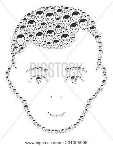 Face Figure Composed In The Combination Of Face Pictograms. Vector Iconized Collage Designed From Si