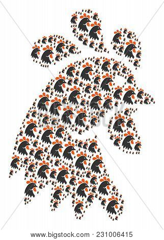 Rooster Head Illustration Constructed In The Collection Of Rooster Head Icons. Vector Iconized Compo