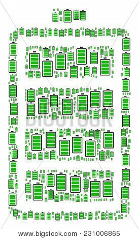Electric Battery Collage Made In The Combination Of Electric Battery Pictograms. Vector Iconized Com