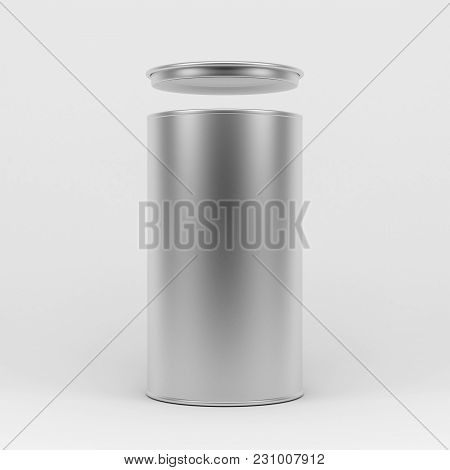 Metal Tin Can, Aluminum Cylindrical Box Packaging, 3d Rendering
