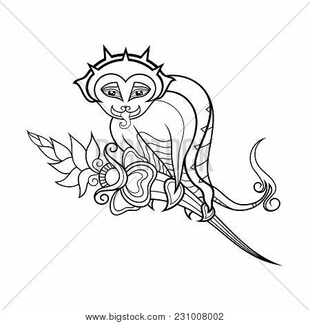 Vector Monochrome Decorative Gargoyle. Isolated Objects On White Background