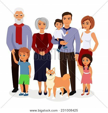 Vector Illustration Of Happy Family. Father, Mother, Grandfather, Grandmother, Children And Dog In A