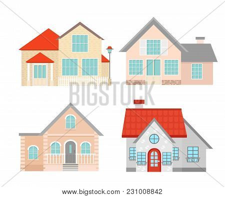 Vector Illustration Set Of Colorful Flat Residential Houses. Town House Cottage. Building Set Isolat