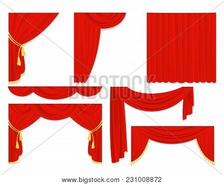 Vector Illustration Set Of Red Silk Curtains, Velvet Draperies, Interior Decoration Design Isolated