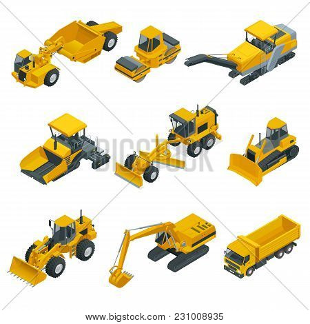 Big Isometric Set Of Construction Equipment. Forklifts, Cranes, Excavators, Tractors, Bulldozers, Tr