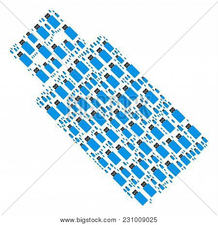 Usb Flash Drive Composition Designed In The Set Of Usb Flash Drive Pictograms. Vector Iconized Colla