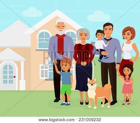Vector Illustration Of Big Happy Caucasian Family With Many Children, Mother, Father With Grandmothe