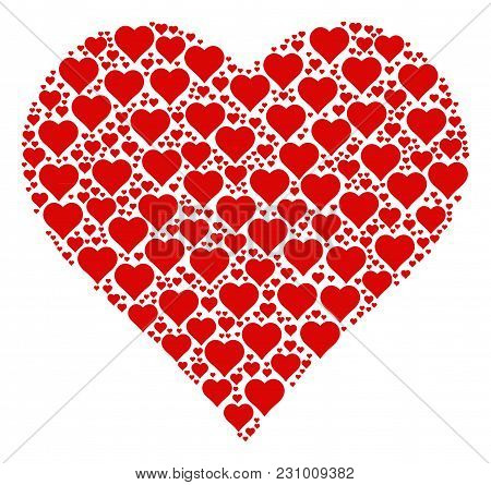 Valentine Heart Pattern Made In The Combination Of Valentine Heart Design Elements. Vector Iconized