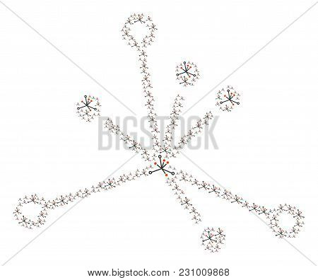 Big Bang Collage Designed In The Collection Of Big Bang Elements. Vector Iconized Collage Made From