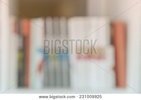 Abstract Blurred Books, Manuals And Textbooks, Bookshelves With Books, Library Or Book Store, Light