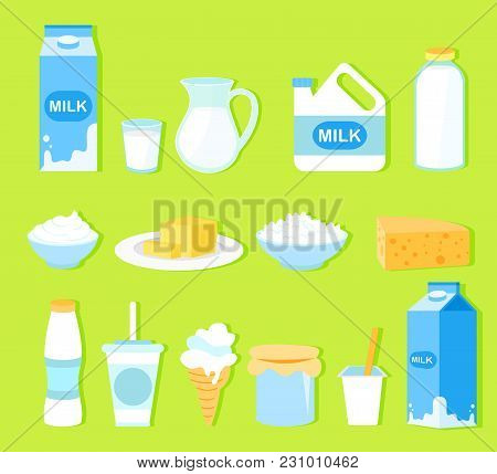 Vector Illustration Set Of Milk Products In Flat Cartoon Style. Collection Milk, Butter, Cheese, Yog