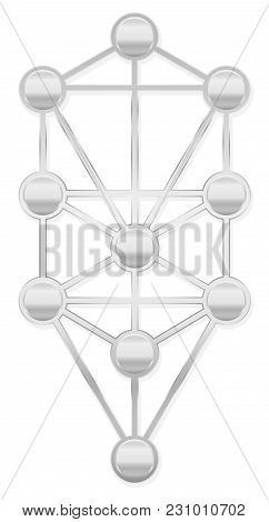 Tree of Life. Silver Kabbalah symbol with ten Sephirots of the Hebrew Kabbalah - isolated on white background. poster
