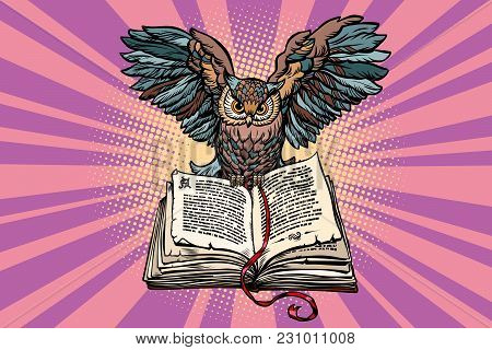 Owl On An Old Book, A Symbol Of Wisdom And Knowledge. Comic Book Cartoon Pop Art Retro Vector Illust