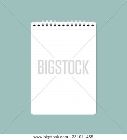 Vector Illustration Of White Clean Sheet Of Paper From Notebook, Ready For Your Message