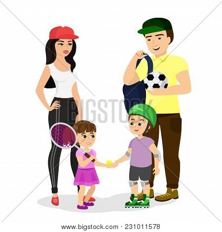 Vector Illustration Of Sport Family. Dad, Mother, Son And Daughter In Sport Clothes Lead A Healthy L