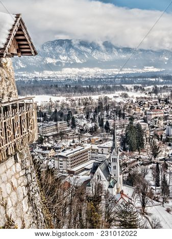 Bled town in winter time viewed from the Bled Castle, Slovenia, Europe