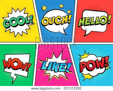 Retro Comic Speech Bubbles Set On Colorful Background. Expression Text Ouch, Cool, Like, Hello, Wow,
