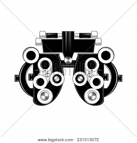 Phoropter Glyph Icon. Refractor. Ophthalmic Testing Device. Optical Medical Device. Vector Isolated