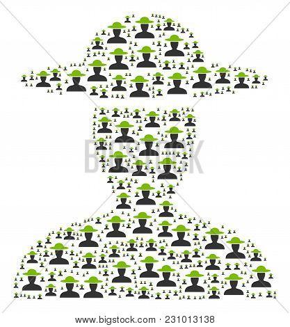 Farmer Person Collage Organized In The Shape Of Farmer Person Design Elements. Vector Iconized Compo