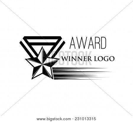 Star Shaped Medal. Winner Award Logo. Reward Badge. Vector Illustration Isolated On White Background