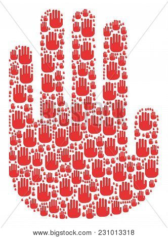 Stop Hand Figure Constructed In The Group Of Stop Hand Icons. Vector Iconized Collage Organized With