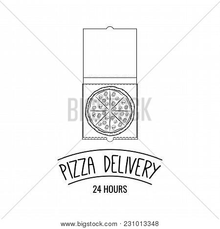 Pizza In Cardboard Box With Text Pizza Delivery. Pizzeria Labels, Badges And Design Elements. Vector