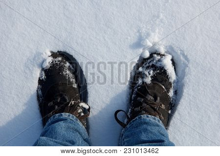 Man Legs In Hiking Boots In Fresh Snow