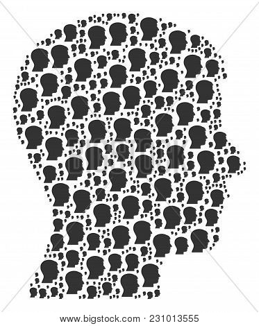 Man Head Profile Collage Combined In The Shape Of Man Head Profile Design Elements. Vector Iconized