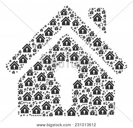 Home Keyhole Composition Organized In The Collection Of Home Keyhole Design Elements. Vector Iconize