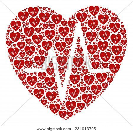 Cardiology Collage Done In The Figure Of Cardiology Pictograms. Vector Iconized Collage Composed Fro