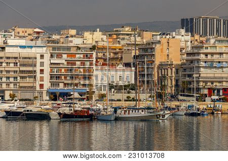 Yachts And Boats In The Harbor Of Piraeus On A Sunny Day. Athens. Greece.
