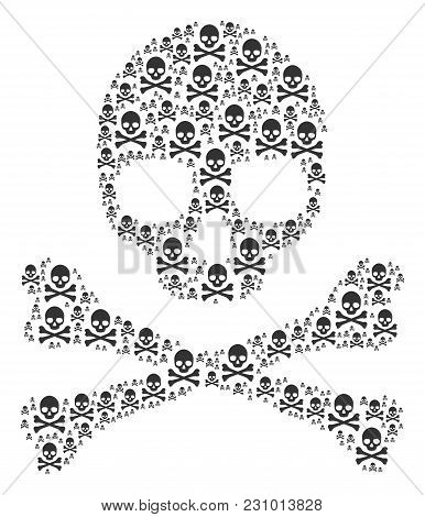 Death Skull Pattern Composed In The Group Of Death Skull Design Elements. Vector Iconized Collage Ma