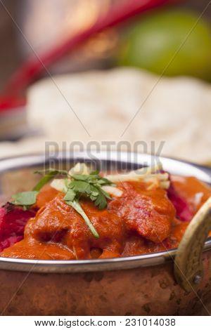 Closeup Of Indian Chicken Tikka Dish With Rice