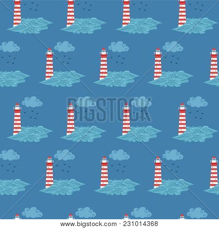 Seamless Cute Pattern With Red And White Lighthouse, Sea, Cloud And Birds. Vector Illustration