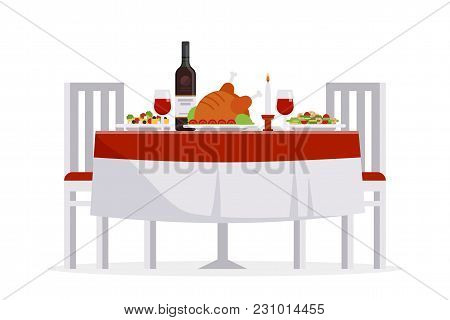 Table With Tasty Dishes And Two Chairs Vector Flat Illustration. Romantic Dinner In The Restaurant C