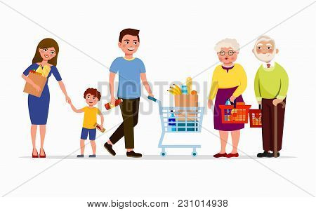 People At The Supermarket Buying Products. Men And Women At Mall. Family In Shop, Mother, Father, So