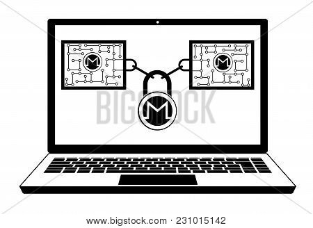 Monero Block Chain Technology On A Screen Laptop   ,disign Concept  Black And White With Security Lo