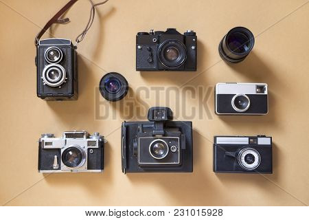 Set Of The Old Cameras And Photography Equipment
