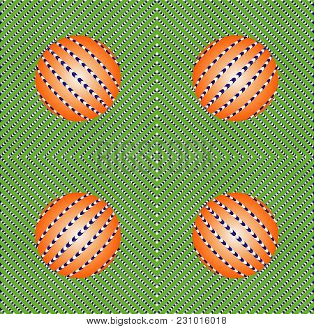 Incredible Motion Illusions. Movement Illusion Of Ball. Ball Rolls Along Surface. Abstract Backgroun