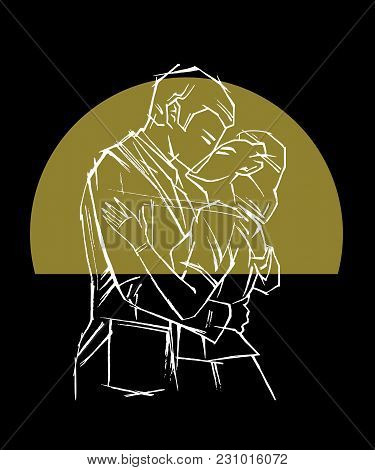 Retro Styled Pair, Man And Woman Kissing In Front Of Golden Sun Disk, Sunset, Romance, Love, Minimal