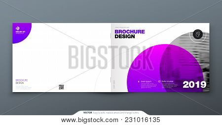 Purple Brochure Design. Horizontal Cover Template For Brochure, Report, Catalog, Magazine. Layout Wi