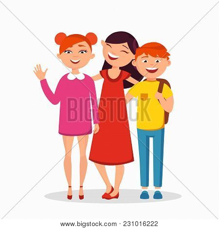 Three Children Standing And Hugging Vector Flat Illustration. Group Of Kids Laughing, Children - Fri