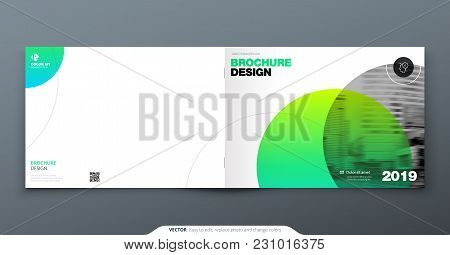 Green Brochure Design. Horizontal Cover Template For Brochure, Report, Catalog, Magazine. Layout Wit