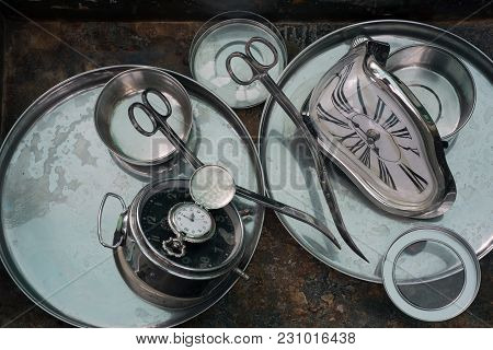 Original Still Life Of Curved Scissors, Antique Watches And Alarm Clocks, Unusual Design Of Interior